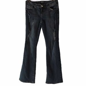 Milan jeans low rise flared leg distressed size 9